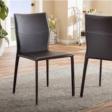 faux leather dining chair black: asper brown faux leather dining chair set of