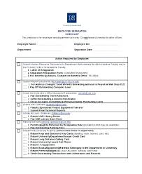Employee Exit Interview Checklist Employee Termination Template Free Letter Employment Checklist T