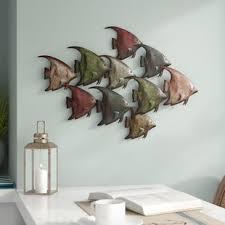 coastal metal fish wall d cor on coastal wall art metal with nautical metal wall art you ll love wayfair