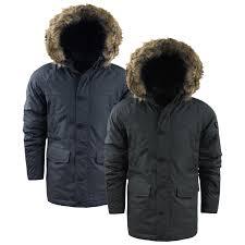 Details About Mens Winter Coat By Brave Soul Negredo Parka Jacket Faux Fur Hood Sizes S Xl