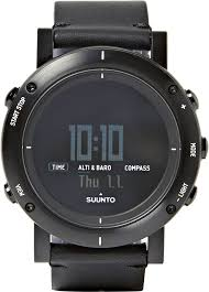 suunto essential stainless steel and leather digital watch