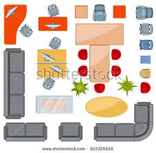 floor plan with furniture. top view interior furniture icons flat vector projection architectural floorplan office illustration of floor plan with