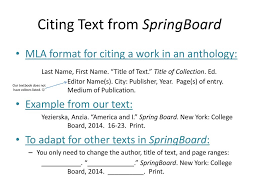 Citing Text From Springboard Ppt Download