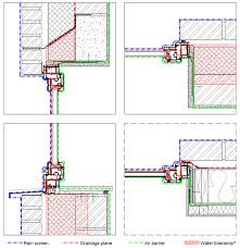 cross sections of the window wall interface in a brick cavity wall