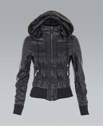 ruched pu black hooded er jacket