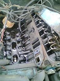 overhead valve engine picture of a v8 engine block intake manifold removed showing the camshaft pushrods and rockers