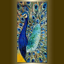 Original Peacock Oil Painting Textured Palette Knife Contemporary Modern  Animal Art 15X30 by Willson Lau.