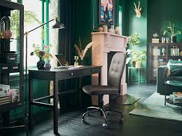 ikea home office furniture. a black brown desk by the window in sitting room with green walls and ikea home office furniture i