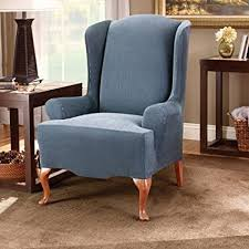 sure fit stretch stripe wing chair slipcover navy sf37758