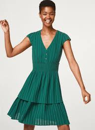 Light Green Fit And Flare Dress Esprit Green Self Striped Fit Flare Dress