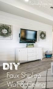 so a few searches later we were ready to take on our diy shiplap wall which is in fact the er faux shiplap version of what chip and joanna