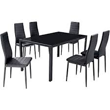 gfw houston gl dining table with 6 chairs pvc dining set 6 seater dining