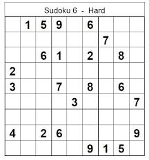 Printable Sudoku Hard Printable Sudoku Hard Puzzle No 6 Sudoku Hard
