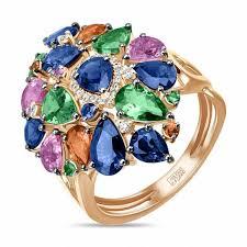 <b>Кольцо</b> c бриллиантами, гранатами и <b>сапфирами</b>, артикул R97 ...