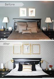decorate bedroom on a budget.  Bedroom Amazing BeforeAfter Bedroom Using Fuji Allover Stencil On Decorate Bedroom A Budget U