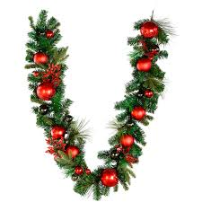 vickerman pre decorated mixed green artificial garland 6ft x 12in red