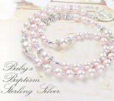 baby baptism rosary or munion personalized rosary with sterling 925 silver letters swarovski pink pearls baptism gift