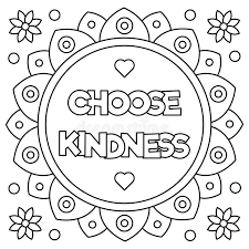 Small Picture Choose Kindness Coloring Page Vector Illustration Stock Vector