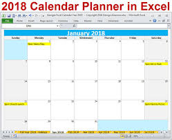 excel 2018 yearly calendar 2018 calendar year printable excel template 2018 monthly