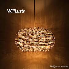 wicker pendant lamp wicker pendant lamp handmade suspension light bird nest shape hanging lighting bar hotel restaurant mall lounge porch art glass pendant