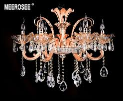 rose gold 6 arms crystal chandelier lighting modern fl crystal light fixture res lamp for foyer md2107 d740mm h600mm md2107