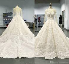 Designer Bridal Gowns With Sleeves Luxury Jewel Long Sleeve Lace Wedding Dresses 2019 Lace Designer Bridal Gowns Mopping Long Section Sheer Neck Straps Wedding Gowns Cheap Wedding