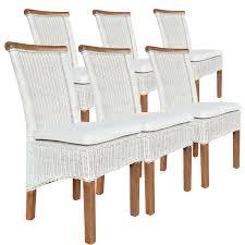 Esszimmer Stühle Set Rattanstühle Perth 6 Stück Weiß Sitzkissen Leinen Weiß