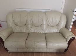 free 3seater leather cream sofa good condition smoke free home needs go asap collection only in sunderland tyne and wear gumtree