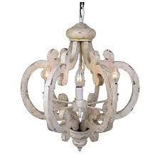 distressed white chandelier 6 light antique wooden iron