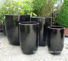 tall glazed black u pot planters