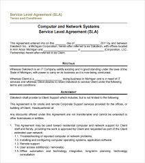 Free Sample Service Level Agreement Template - Schreibercrimewatch.org