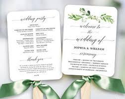 Printable Wedding Program Templates Greenery Wedding Fan Program Printable Wedding Fan Program Etsy