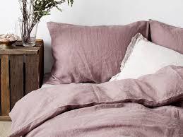 dark pink linen bedding set duvet cover