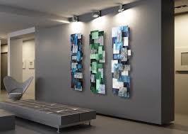 metal wall sculpture tryptic abstract