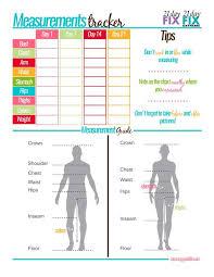 21 Day Fix Measurement Tracker Healthy Recipes Pinterest