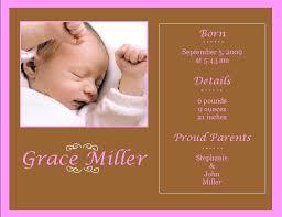Sample Baby Announcement Birth Announcement Example Under Fontanacountryinn Com
