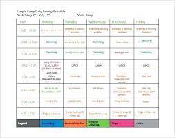 Summer Camp Daily Schedule Template Gym Class Calendar