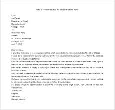 College Recommendation Letter From Family Friend Sample Scholarship Letter Of Recommendation Template Caseyroberts Co