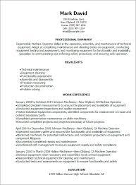 Machine Operator Resume Sample Best Professional Resumes Letters
