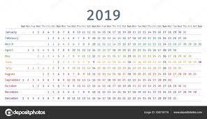 Fotografie Calendario Lineare Calendario 2019 Design Lineare