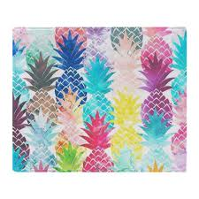 Pineapple Pattern Delectable Hawaiian Pineapple Pattern Tropical Soft Fleece Throw Blanket Air