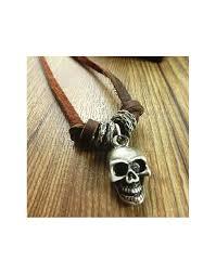 vintage skull head leather necklace