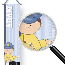 Kids Wall Growth Chart Little Heroes Theme Kids Personalized Police Officer Wall Growth Chart