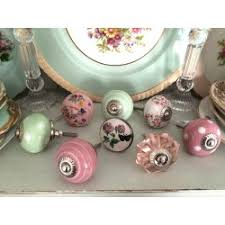 Eclectic mixed set 8 pink/green floral vintage style furniture KNOBS