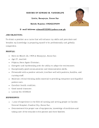 Sample Resume For Nursing Nursing Resume Template Free Basic Simple Filipino Nurse Sample Sevte 6
