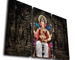 hindu god ganesha painting printed on canvas wall art picture for home d cor contemporary artwork split canvase birthday gift on ganesh canvas wall art with ganesha wall art etsy