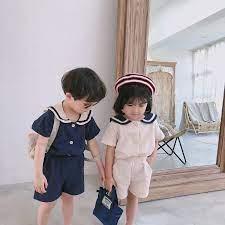 Phong Cách Nhật Bản Mùa Hè Bé Trai Bé Gái Thời Trang Mẫu Giáo Quần Áo Bộ  Trẻ Em Cotton Linen Mềm Mại Thủy Thủ Cổ Áo Và Quần Short 2 chiếc