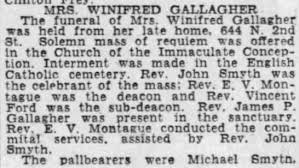 Obituary for WINIFRED GALLAGHER - Newspapers.com