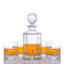 get ations crystalize cut crystal whiskey decanter and glass set with wood tray