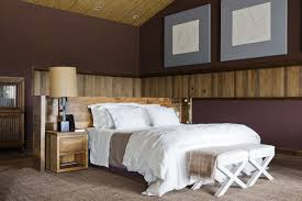 Decorations:Rustic Bedroom Design With Wood Wall Cladding Panels And Brown  Interior Color Decorating Idea